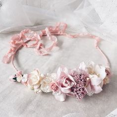 Bridal crownWedding crown Wedding flower crown pink by SERENlTY