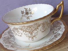 Antique gold tea cup and saucer set, vintage 1940's Coalport Victorian style English tea cup, gold and white bone china tea set