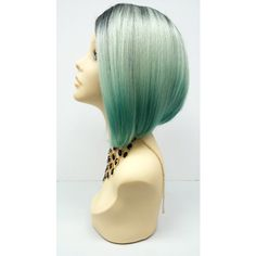 Short Lace Front Wig With Light and Dark Mint Green Ombre Colors... ($60) ❤ liked on Polyvore featuring tops, bath & beauty, hair care, silver, wigs, lace front top, mint top, laced tops, ombre top and laced up top