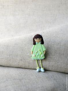 """Купить Брошь Девочка """"Цветочное настроение"""" - разноцветный, девочка брошь, брошь для девочки, брошка для девочки"""