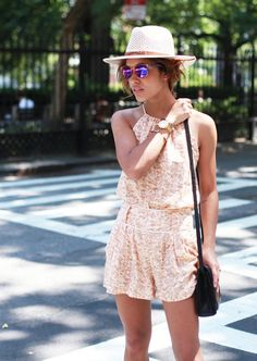 14 Ways to Wear a Summer Straw Hat: Christina Caradona, shot in New York for Trop Rouge.