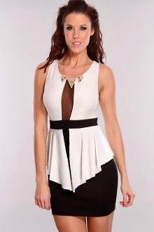 White Black Peplum Dress