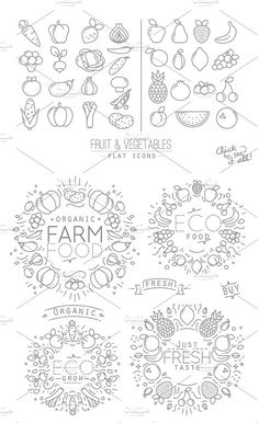 Flat Fruits & Vegetables Icons by Anna on Creative Market Fruit Icons, Food Icons, Fruit Illustration, Creative Illustration, Icon Design, Logo Design, Graphic Design, Logos, Animated Icons
