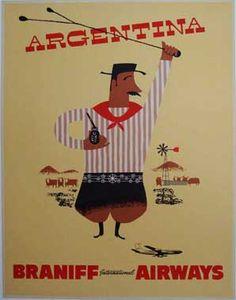 Argentina by Braniff International Airways, 1950s  #travel #vintage