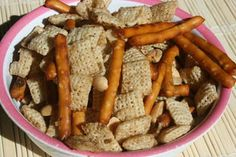 Chex Mix in crockpot  --5 Cups General Mills Rice Chex Cereal  --1-2 cups of dry roasted peanuts (salted or not, your choice)  --2 cups pretzel sticks (I used Glutino)  --1/2 t onion powder  --1/2 t seasoned salt  --3 T butter  --1 1/2 T Worcestershire Sauce (Lea and Perrins is GF.)  Low 2-3 hours - stir - careful not to burn