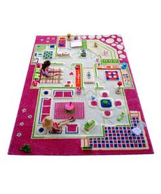 This rug is the perfect place for little ones to play with their dolls and figurines while stretching their imaginations to create sagas that play out in this quaint town. Hypo-allergenic, anti-static, stain-resistant and non-flammable, it's a fun and safety-conscious addition to any playroom's floor.