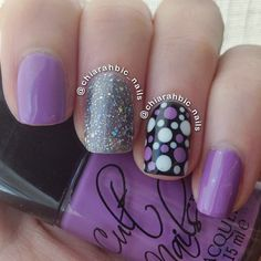 Purple nails with dots nail art Get Nails, Fancy Nails, Love Nails, How To Do Nails, Casual Nails, Trendy Nails, Fabulous Nails, Gorgeous Nails, Polka Dot Nails
