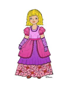 Karen`s Paper Dolls: Princess Sille Dressed to Print in Colours. Prinsesse Sille klædt på til at printe i farver.