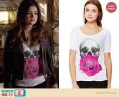 Aria's skull and flower tee with purple leather jacket on Pretty Little Liars.  Outfit Details: http://wornontv.net/34030/ #PLL