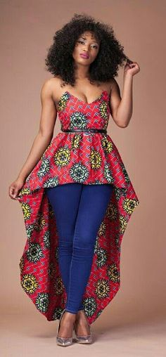 Nigerian Fashion Style - Ankara tops on jeans