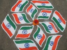India-Flag-Rangoli - 50 Ideas for India Republic Day or Independence Day party