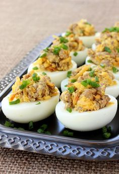 Sausage and Hash Brown Deviled Eggs Taylor Ham & Cheese Breakfast Casserole! Impress Your Guests With These Easy Appetizers! Yes these stuffed eggs are epic appetizers, but don't just save them for that! These Sausage and Hash Brown Deviled Eggs Easy Appetizer Recipes, Yummy Appetizers, Brunch Recipes, Breakfast Recipes, Breakfast Ideas, Breakfast Omelette, Breakfast Hash, Breakfast Casserole, Sausage Recipes