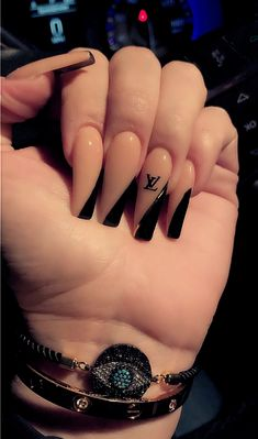 125 stunning spring nails & nail art designs to try this year 11 Black Acrylic Nails, Best Acrylic Nails, Summer Acrylic Nails, Acrylic Nail Designs, Long Black Nails, Spring Nails, Cute Black Nails, Dope Nail Designs, Black Nail Designs