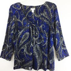 Chicos 2 Artsy Blue Beige Print Rayon 3/4 Sleeve Stretch Gathered Neck M L 12 14 #Chicos #KnitTop #Casual