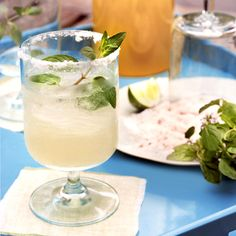Fresh Mint Margaritas ½ c. chopped mint leaves½ tsp. kosher salt4 c. Crushed ice1½ c. good-quality tequila1 c. freshly squeezed lime juice (from about 8 limes)1 c. triple sec DIRECTIONSIn the bottom of a large (2-quart) pitcher, crush together mint and salt, pressing with the back of a wooden spoon. Add ice. Add tequila, lime juice, and Triple Sec, stirring vigorously. Serve in short tumblers or wineglasses.