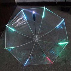Home & Garden :: Household Merchandises :: Rain Gear :: Umbrellas :: New 7 color Changing Color LED Luminous Transparent Umbrella Rain Kids Women with flashlight for friends Gift