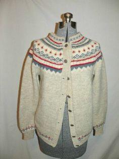 Husfliden Norway Vintage Cardigan Sweater Wool Handknitted Medium