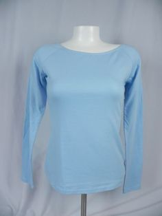 Deb-NEW-Solid-Blue-Scoop-Neck-Long-Sleeve-T-Shirt-D1-8