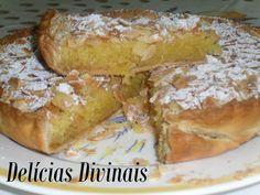 Tarte de Amêndoa - The best recipes from Portugal Portuguese Desserts, Portuguese Recipes, Portuguese Food, Sweet Pie, Sweet Tarts, Cheesecakes, My Favorite Food, Favorite Recipes, Good Food