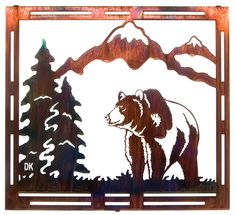 Mountain Grizzly Bear Frame-Style Metal Wall Art