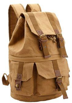c74ca28cbc25 Amazon.com  Leaper Large Canvas DSLR SLR Camera Backpack Rucksack Bag for  Sony Canon Nikon Olympus (Khaki)  Sports   Outdoors