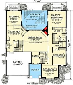 W43039PF - 2,028 Square Foot Home, 1 Story, 3 Bedroom and 2 Bath