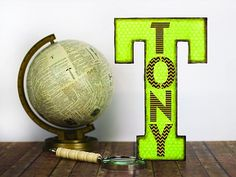 """T for """"Tony"""" Letter -- Personalize a giant letter.  #decoartprojects #stencils"""
