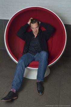 Cool socks. Retro chair. Mr. Cumberbatch.