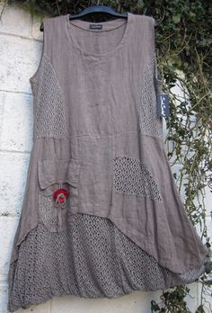 """QUIRKY SARAH SANTOS DRESS TUNIC PUFFBALL MOCHA BNWT S 38"""" LAGENLOOK ETHNIC 