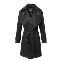 Belt Waist Notched Lapel Open Front Long Coat ($48) ❤ liked on Polyvore featuring outerwear, coats, longline coat, long coat and open front coat