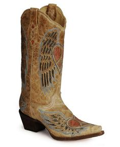 Corral Angel Wing Heart Cowgirl Boots - snip toe #Corral #Angel #Western  #Heart #Cowgirl #Boots