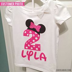 Pink Minnie Mouse Birthday Number Iron-On (Shirt or Onesie) - Make the perfect personalized birthday shirt!