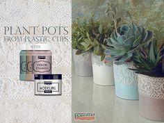 Pentart dekor: Tejfölös vödörből szobanövény kaspó Modeling Paste, Plastic Cups, Potted Plants, Voss Bottle, Peridot, Decoupage, Enamel, Inspiration, Projects