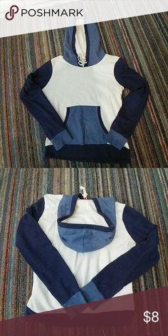 H & M Blue and white hoodie Blue and white hoodie pretty small H&M Tops Sweatshirts & Hoodies