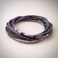 Disco Ball Inspired Hematite Bracelet Set by Lauren York Designs
