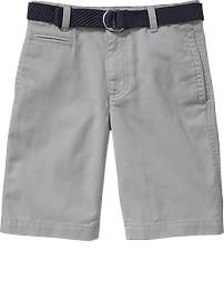 Boys Belted Twill Shorts