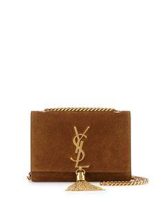 V2JZF Saint Laurent Monogram Small Suede Tassel Crossbody Bag, Camel