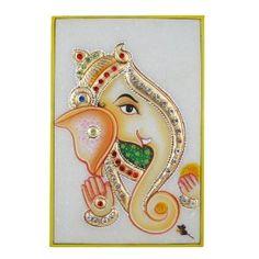 Ganesh Ganesha Indian Art Embossed Miniature Painting on Marble Plate (Kitchen) http://documentaries.me.uk/other.php?p=B0069KJ0AG B0069KJ0AG