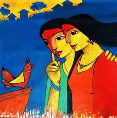 """Colorful acrylic on canvas painting by Ganesh Patil! """"Friends 118"""" by Ganesh Patil Acrylic On Canvas, Size(inches): 24X24 See more artworks by Ganesh Patil at: http://www.indianartcollectors.com/artist/GaneshPatil"""