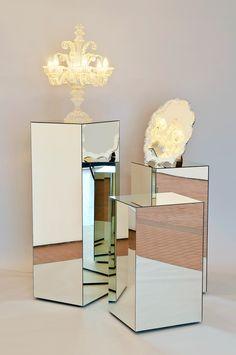 CERITH WYN EVANS    Untitled  2009  Untitled 2009 Mirror plinths, mirror table and hand-blown glass candelabra