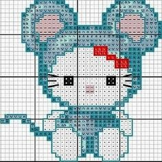 Free Hello Kitty dressed as a Mouse Cross Stitch Chart or Hama Perler Bead Pattern Beaded Cross Stitch, Cross Stitch Charts, Cross Stitch Designs, Cross Stitch Embroidery, Cross Stitch Patterns, Broderie Simple, Hello Kitty Dress, Stitch Cartoon, Stuffed Animal Patterns
