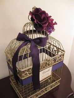 Champagne Bird Cage Wedding Card Holder With Deep Purple Rose