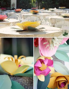 Vintage Paper Flowers at your Wedding Large Paper Flowers, Giant Paper Flowers, Real Flowers, Diy Flowers, Wedding Flowers, Wedding Blog, Diy Wedding, Wedding Ideas, Paper Flower Centerpieces