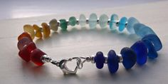 Rainbow Sea Glass Sterling Silver Bracelet by SeahamWaves on Etsy