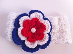 4th of July Crochet Headband, Girls Baby Infant Patriotic Crocheted Head Band, Red White & Blue, American via Etsy