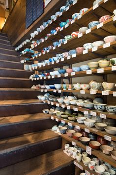 Tokyo - Kappabashi Porcelain Shop Steps with Shelves