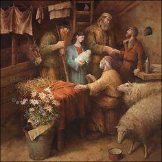 Het bezoek van de herders / visit of the shepherds - Marius van Dokkum