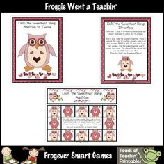 Here's an owl/heart themed set of materials for playing Bump using addition facts to 12.