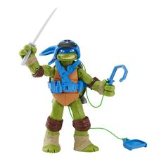 "Teenage Mutant Ninja Turtles Spyline Leonardo Action Figure. 5"" articulated Splyline Leonardo, secure the hook to the top of an enviroment and pull to zip Turtle up and down. Geared up with special line riding back packs. Includes signature weapons. Collect all Ninja Turtles and other characters from Nickelodeons TV Show!."