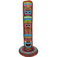 Our Inflatable Jumbo Tiki Pole Decoration features three brightly colored tiki faces on a brown background made to look like a tiki pole. Hawaiian Party Supplies, Hawaiian Luau Party, Hawaiian Decor, Hawaiian Tiki, Luau Party Decorations, Party Props, Party Ideas, Decoration Party, Fun Ideas